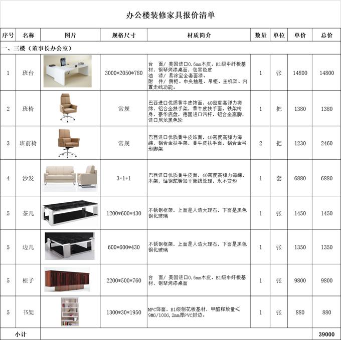 上海装饰公司办公家具报价清单【图】